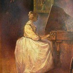 Girl playing spinet